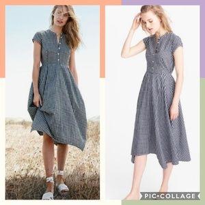 J Crew Gingham Midi Shirt Dress